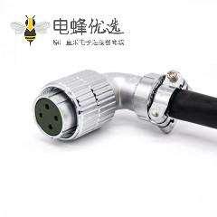 弯式电缆插头P32 4芯母头接线连接器