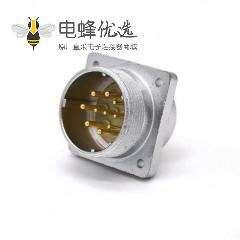 插座公头P32 10芯直式方型法兰连接器