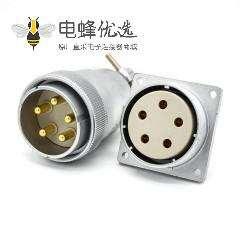 插头插座连接器P40母头直式法兰插座公头直式接线插头连接器