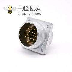 插座公头P48 17芯直式方型法兰连接器