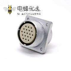19芯插头P32母头4孔法兰连接器