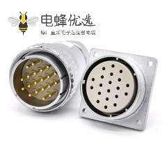 圆插头插座P40母头直式法兰插座公头直式接线插头连接器