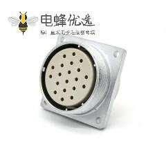 矩形20芯插座P40 20芯母头直式四孔法兰连接器