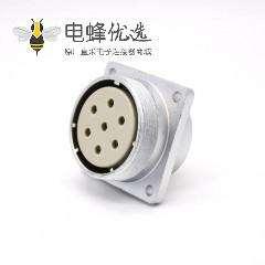 7芯插座P40直式母头方型法兰插座