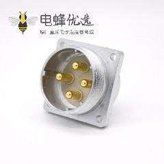 4芯插座P48公头直式四孔法兰连接器