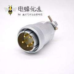 5芯插头P48公头直式接线焊接连接器