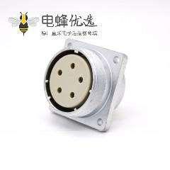 插座母头P48 5芯直式方型法兰连接器