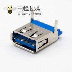 typeA USB3.0母头180度直式焊线带直角面板安装连接器