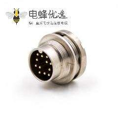 公插座M16公头12芯A扣板端插座连接器直式穿墙PCB板接线焊接