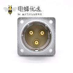 3芯航空插座P48公头直式4孔法兰连接器