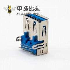 USB接口连接器A型3.0弯式9芯母头插孔面板安装