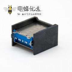 usb3.0 单排连接器A型双层9芯180度直式插板贴片金属铁壳带屏蔽