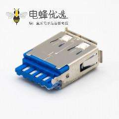 USB typeA母头直式9芯有卷边焊接接线贴板安装连接器