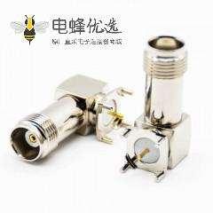 TNC连接器母头弯式PCB板安装插孔螺纹连接定制