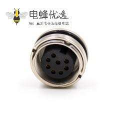 M16母头8芯前装面板头A扣直式板端插座PCB板焊接接线连接器