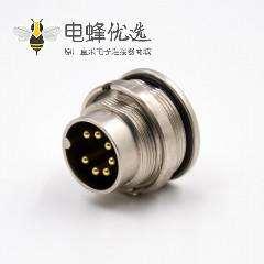 插座公头M16板端插座A扣7芯公头直式前锁板接线焊接式传感器连接器