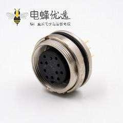 插座母头M16板端插座A扣12芯直式前锁板接PCB板传感器连接器