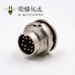 M16穿墙端插座A扣12芯公头直式前锁板接PCB板传感器连接器