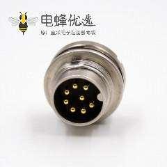 M16A扣公头直式前锁板接线焊接式8p前装板端插座传感器连接器