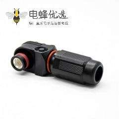 储能连接器母头防水黑色插头单芯8mm直角200A塑料IP67高压