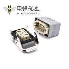 重载工业连接器H10B4芯镀银公母对接开孔安装螺纹M25顶出口PC料内芯