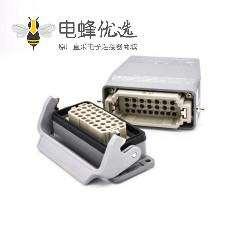 矩形连接器36芯开孔安装高结构顶出口进线公母对接不带针公头H16B重载连接器M40螺钉