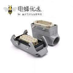 40针重载连接器PG21螺钉开孔安装斜出口进线公母对接H16B
