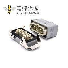 16针重载连接器开孔安装顶出口进线公母对接PG21螺钉H16B