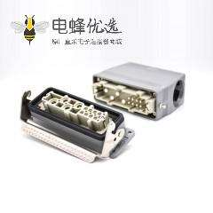 HDC连接器公母对接高结构斜出口开孔安装12芯H24B外壳铁扣PG29