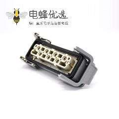 工业矩形重载连接器塑料铁扣7芯H24B外壳顶出口开孔安装公母对接M32