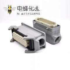 矩形防水连接器重载64芯H24B外壳公母对接PG21表面安装斜出口塑料铁扣