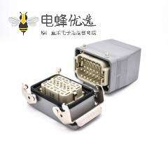24芯重载连接器H10T开孔安装镀银螺钉PG29结构顶出口进线公母对接