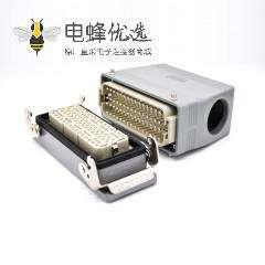重载防水连接器60芯高结构斜出口开孔安装公母对接铁扣H24T外壳M40