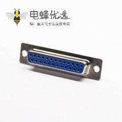 DB25芯接头2排单端口直式插座面板安装外壳焊杯连接器