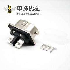 高压互锁连接器2芯直式插座面板安装4孔法兰125A金属外壳
