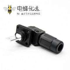 储能高压连接器公母插座插头对接单芯12mm黑色350A塑料防水IP67铜牌连接