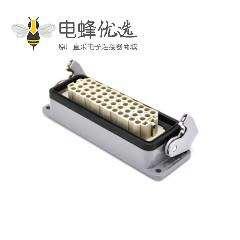 工业重载连接器斜出口开孔安装H24B外壳不带针公头公母对接PG21
