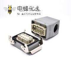 重载连接器接线H10T开孔安装高结构斜出口10芯镀银螺钉PG29