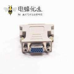 DVI接头24+5芯公头转高密度D-Sub15芯母头180°