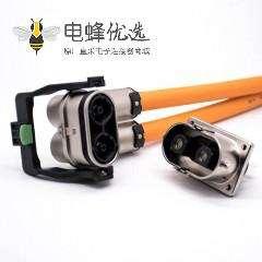 高压互锁插头125A弯式2芯金属外壳接线15CM连接线