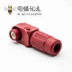 防水连接器120A弯式插头6mm单芯红色塑料IP67接线