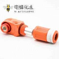 高压大电流连接器8mm弯式插头IP67单芯塑料200A接线橙色