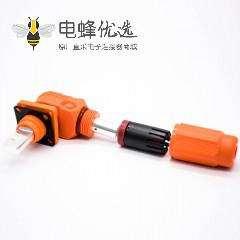 储能电池连接器公母防水弯式插头对接直插座单芯8mm200A橙色塑料铜牌连接