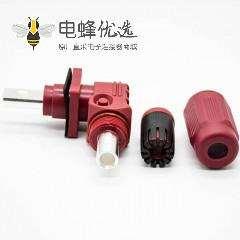新能源电源储能连接器单芯14mm公母插座插头直弯对接400A红色塑料防水IP67铜牌连接