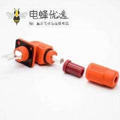 电池储能连接器橙色塑料400A单芯14mm防水IP67公母插座插头直弯对接高压