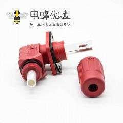 大电流防水连接器IP67红色公母直弯对接插头插座200A单芯12mm塑料铜牌连接