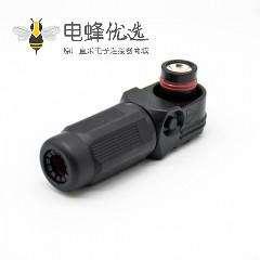 新能源高压防水大电流连接器公插头直角单芯12mm黑色350A塑料IP67