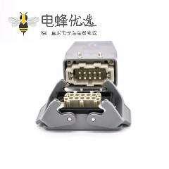 10针重载连接器开孔安装公母对接H10B镀银螺钉M25顶出口进线