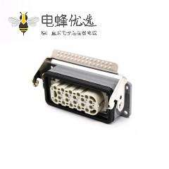20芯重载连接器公母对接H16B镀银螺钉M32开孔安装斜出口