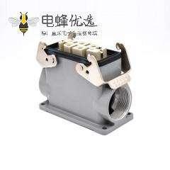 6针重载连接器H16B加高型表面安装高结构斜出口公母对镀银M40螺钉